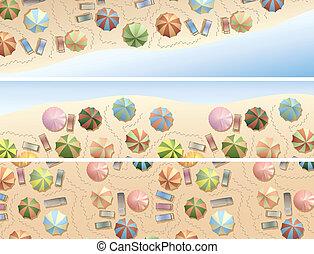 parasoles, muchos, silla, playa., cubierta
