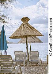parasoles on the beach