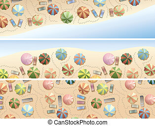 parasols, muitos, cadeira, praia., convés