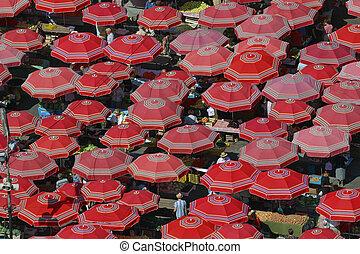Traditional parasols on the Zagreb market. Croatia