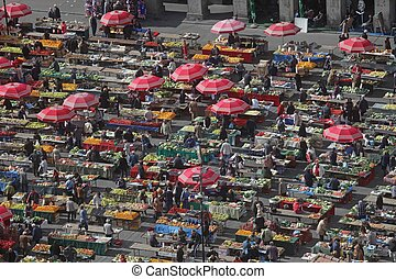 Parasols on the Zagreb market