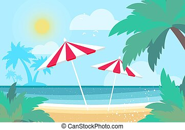 Parasols under the palm tree on Seashore. Time to travel. Tropical summer holidays. Seaside landscape. Flat.