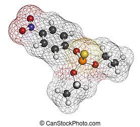 parathion, pesticide, molecule., organophosphate, ...