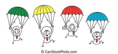 paratrooper business team