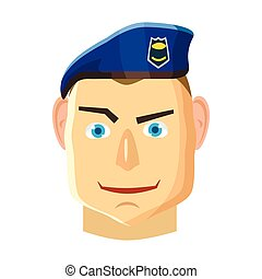 Paratrooper icon, cartoon style