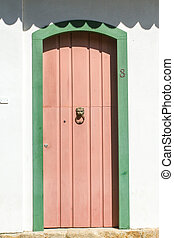 Paraty doors - Typical historical colourful wood doors in...