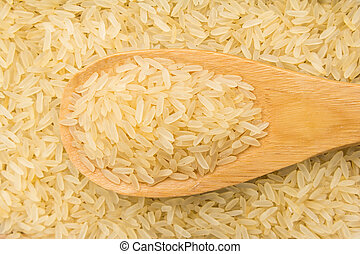 Oryza sativa is scientific name of Parboiled Chinese Rice seed. Also known as Arroz Agulha parboilizado (portuguese). Grains in wooden spoon. Close up.