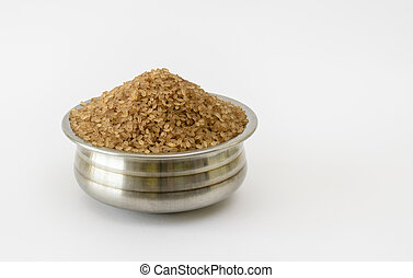 Parboiled Kerala Matta Rice - Steel container filled with ...