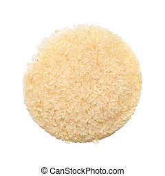 Parboiled rice isolated on white background. Top view