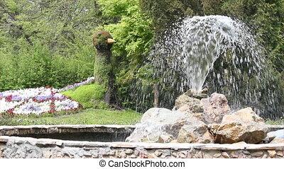 parc, à, fontaine