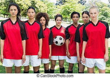 parc, équipe, football, femme, balle