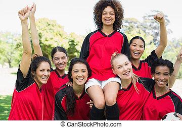 parc, équipe, réussi, football, femme
