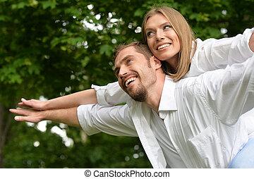 parc, été, couple