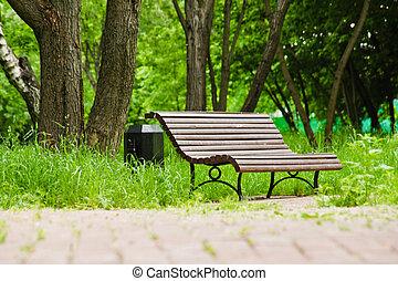 parc, été, jour ensoleillé, banc