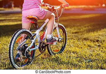 parc, été, peu, vélo, girl