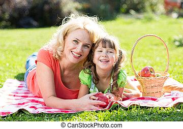 parc, été, pique-nique, avoir, famille