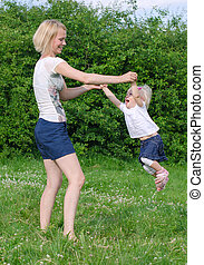 parc, été, rotation, fille, mère