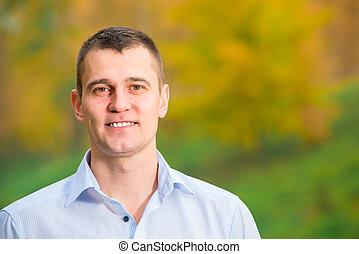 parc, 35, années, portrait, homme souriant