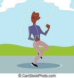 parc, aîné actif, exercice, vieux, sauts, homme, corde