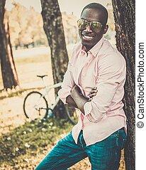 parc, américain, vélo, jeune, africaine