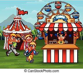 parc, amusant, enfants, amusement, heureux