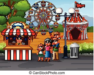 parc, amusement, famille, heureux