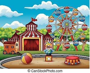 parc, amusement, fond, nature