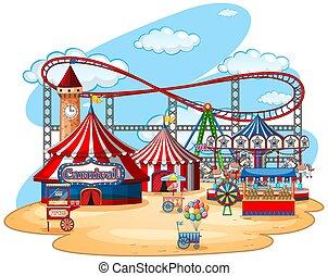 parc, amusement, thème, fond, isolé, foire
