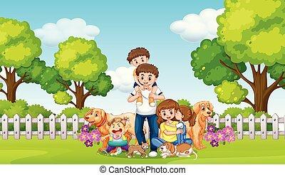 parc, animaux familiers, famille, heureux