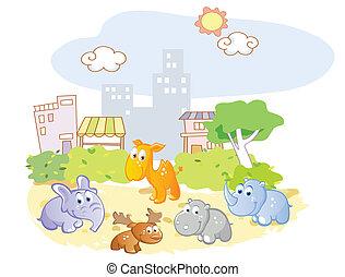 parc, animaux, jeune, jouer