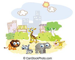 parc, animaux, jouer, dessin animé