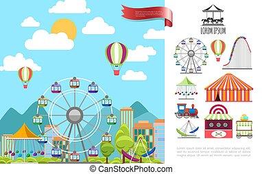 parc attractions, concept, plat