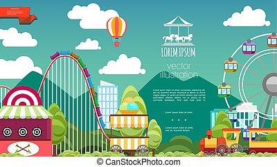 parc attractions, plat, fond
