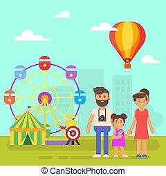 parc attractions, pour, kids., famille heureuse, sur, a, weekend.