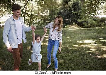 parc, aujourd'hui, temps famille