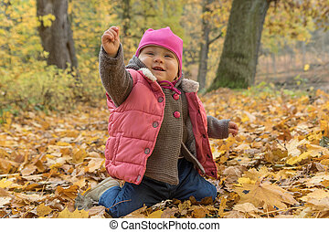 parc, automne, automne, dorlotez fille, jour, heureux