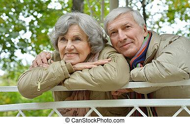 parc, automne, couple