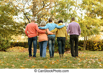 parc, automne, famille