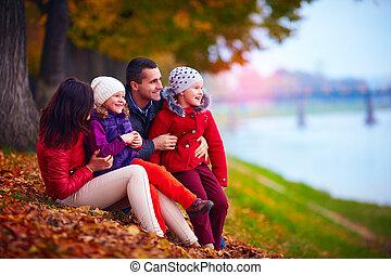 parc, automne, heureux, portrait, famille