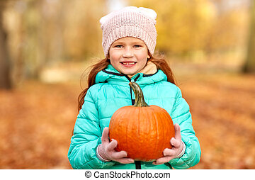 parc, automne, roux, girl, heureux, citrouille