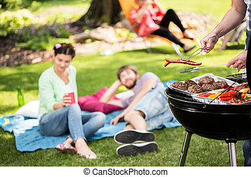 parc, barbecue, amis