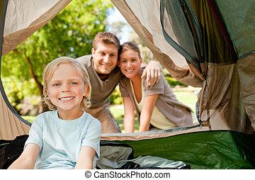 parc, camping, famille, heureux