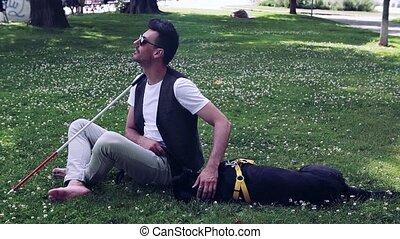 parc, canne, city., séance, homme, aveugle, guide, blanc, jeune, chien