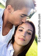 parc, caucasien, couple, jeune