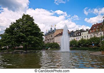 parc central, baden-baden., fountain., europe, allemagne