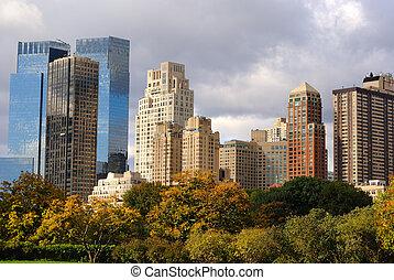 parc central, gratte-ciel, vue