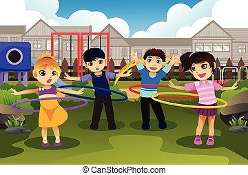 parc, cerceau, hula, jouer, enfants