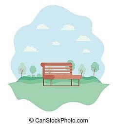 parc, chaise, naturel, scène, paysage