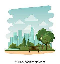 parc, chaise, récréatif, naturel, scène