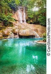 parc, chute eau, national, thaïlande, erawan, beau